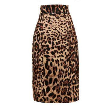 Instock S XXL female pencil skirt leopard print novelty vintage design clothing swing sexy party retro vintage style high waist