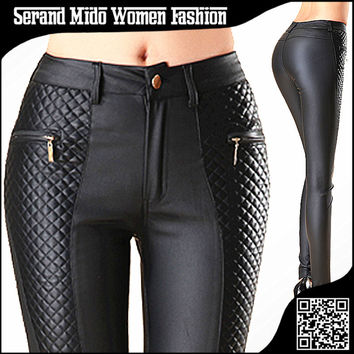 Fashion new women leather pants PU legging button fly with zipper pockets skinny pencil pants Patchwork woman leather leggings