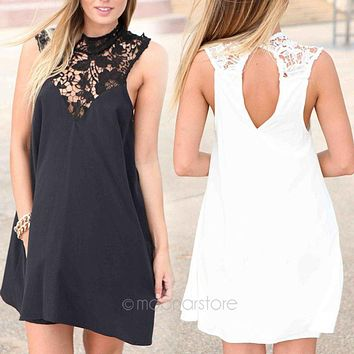 Hot 2017 New Women Sleeveless Round Neck Joint Dresses Hollow Out Lace Flower Dress Loose Sexy Short Dress Black/White