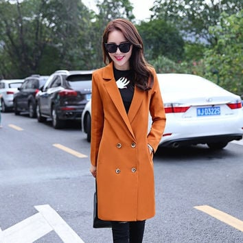In the fall of 15 new women's long suit Ms. windbreaker Korean fashion able thin solid colored body all-match = 1956991492