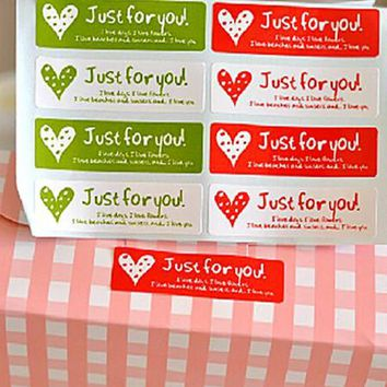 """Just for You"" long adhesive seals stickers labels homemade DIY tags for cookie cake gift packaging decoration"