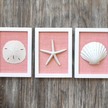 Cottage Chic Set of Beach Wall Art, Sea Shells Home Decor, Beach House Wall Decor, Sea Shell Art, Coastal Art, Pure White & Pink Burlap