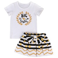 Big Sister T-shirt +Bow Skirt Clothing Set For Girls