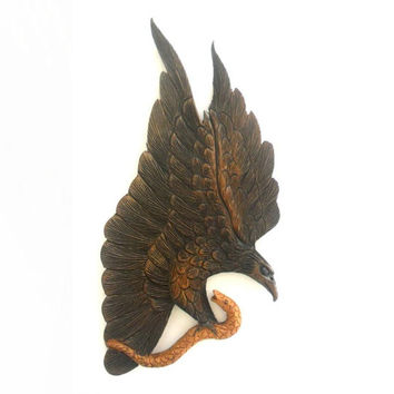 "Natural Teak Wood Carving Of Eagle Catch A Fish  Art Home Decor Wall Hanging Handcrafted Hand Carved 14""x7.5"""