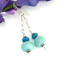 Kryptonite Mint Lampwork Earrings Turquoise Handmade Sterling Jewelry