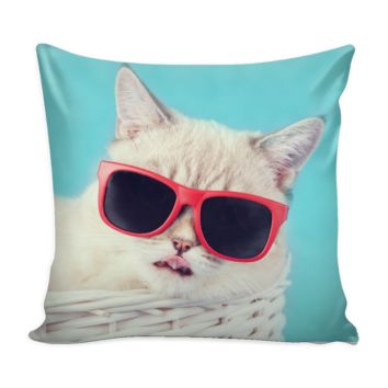 "Cool Cat 16x16"" Pillow Cover Case"