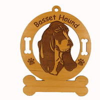 1493 Basset Hound Head Personalized Ornament