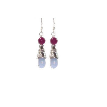 Genuine Blue Chalcedony Earrings , Sterling Silver Ear Wires , Blue Chalcedony And Ruby Jade Gemstones