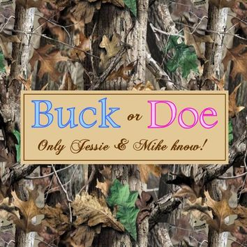 Buck or Doe Camouflage Gender Reveal Baby Shower Favor Tags
