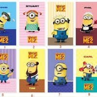 New Arrive Cute Anime Despicable Me 2 Minions Smart PU Leather Stand Case Cover Skin For ipad 4 2 or for ipad3 freeshipping