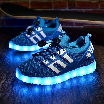 Glowing Children casual Shoes with USB rechargeable Kids Led Light up Shoes Luminous Sneakers for Boys Girls Sneaker Pink Black 1