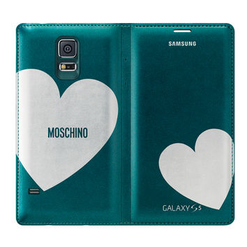 Galaxy S® 5 Moschino Wallet Cover, Silver Heart