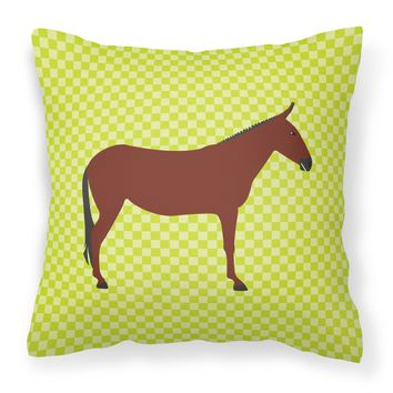 Hinny Horse Donkey Green Fabric Decorative Pillow BB7676PW1414
