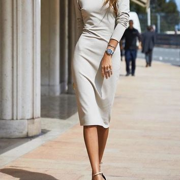 New White Backless Bodycon Long Sleeve Fashion Going out Midi Dress
