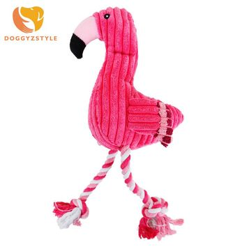 Pink Flamingo Plush Velvet Interactive Pet Toy for Dogs