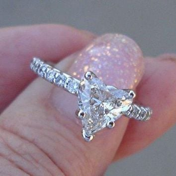 Luxinelle Certified 1 Carat Heart Diamond Solitaire Engagement Ring - 14K White Gold by Luxinelle®Jewelry