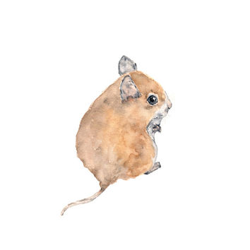 Mouse painting, watercolor painting, watercolor animals, children's painting, animal art, mouse nursery art, mouse illustration,  5X7