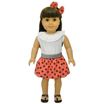 Doll Clothes Fits American Girl & Other 18 Inch Dolls Polka Dots Red Dress
