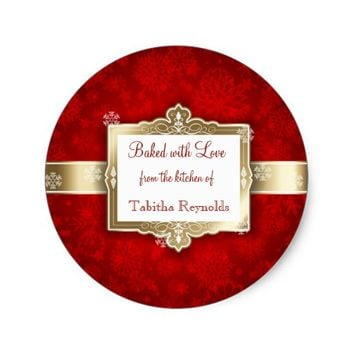 Christmas Gift Label, Beautiful Red and Gold Classic Round Sticker
