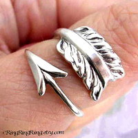 925. Cupid's Arrow - Sterling Silver ring for men & women, Size adjustable, Promise ring 101812