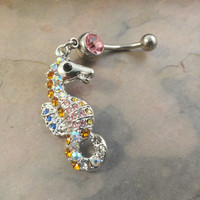 Colorful Seahorse Belly Button Jewelry Crystal Sparkle Belly Ring