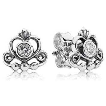 Authentic Pandora Jewelry - My Princess Stud Earrings w-CZ