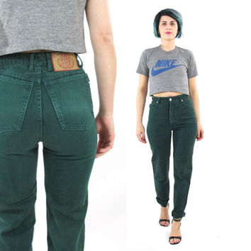 80s Bongo Jeans Forest Green Skinny Jeans High Waist Jeans Slim Fit Tapered Leg Jeans Hunter Dark Green Mom Jeans Grunge Denim Size 3 (XS)