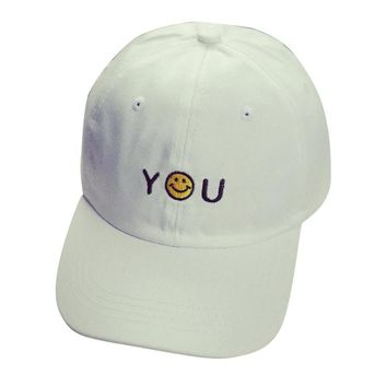 High Quality Letter Embroidery Cotton Smile Baseball Cap Unisex Snapback Hip Hop Sun Hat  MAY 30
