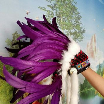 Purple Indian Headdress indian feather warbonnet halloween feather costumes american custome