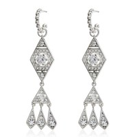 Hanging Pave Kite Earrings - Silver