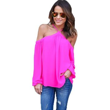 Summer Tops Sexy Cold Shoulder Chiffon Shirts Women Fashion Lantern Sleeve Halter Top 4 Colors Off Shoulder Tops Blouses