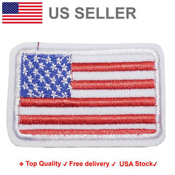 USA FLAG Iron on / sew on Embroidery Patch Badge Embroidered PATRIOT Motif