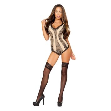 Roma RM-LI194 Two-Tone Romper with Lace Trim