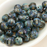 Fire polished czech beads. 8mm blue faceted glass. Czech Round Picasso 20pc.