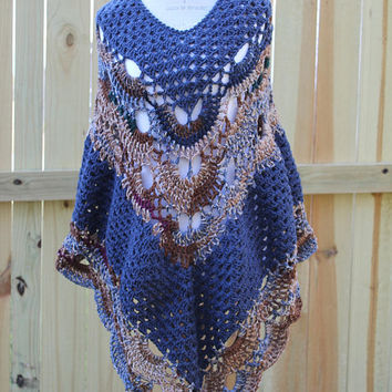 Women Poncho, Granny Stitch and Virus Stitch Shawl, Denim Blue and Multi, Sweater, Wrap, XL or XXL Women or Juniors