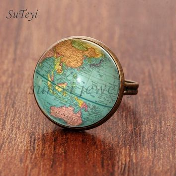 SUTEYI Vintage Globe Glass Ring Planet Earth World Map Art Glass Dome Ancient Bronze Rings for Women Men Silver Color Jewelry
