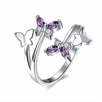 Sweet Adjustable Ring Purple Zircon Butterfly Women Ring