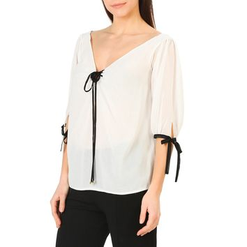 Annarita N White V-Neck Sleeves Shirt