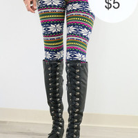 Sledding On Thin Ice Snowflake Printed Leggings