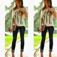 "Casual Loose ""LOVE"" Print Simple T Shirt"
