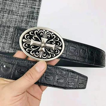 Chrome Hearts Fashion New Leather Women Men Personality Belt Black