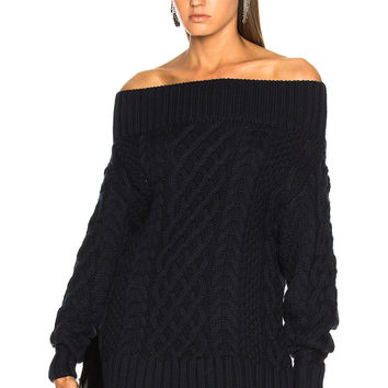 self-portrait Oversized Cable Knit Sweater in Navy | FWRD