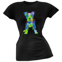 On My Own Pit Bull Puppy Neon Black Light Juniors T-Shirt