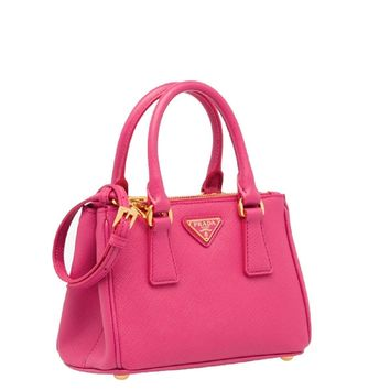 Prada Bandoliera Saffiano Lux Fuchsia Pink Leather Mini Tote Cross Body Handbag 1BH907