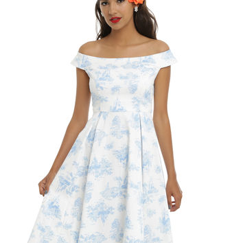 Disney Princesses Toile Print Empire Waist Dress