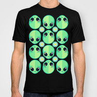 Sad Alien and Daisy Nineties Grunge Pattern T-shirt by Chobopop | Society6