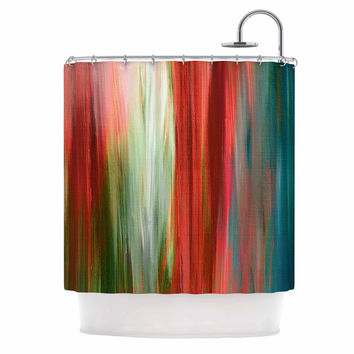 "Ebi Emporium ""Irradiated Multi 1"" Red Olive Shower Curtain"