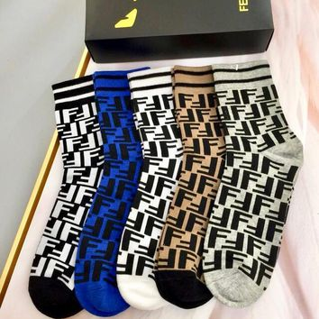 Fendi Fashion 5 Pairs Of Set Sock Style #239