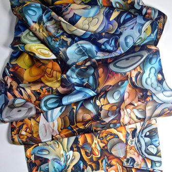 "Long Silk Satin Scarf, 3D Fractal scarf, gifts for women, shawl, digital print scarves, ""Fractal Cascade"" design, science scarves"