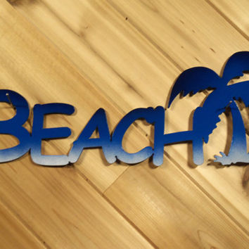 Wall Words Wall Art Metal Beach with Palm Tree By PrecisionCut
